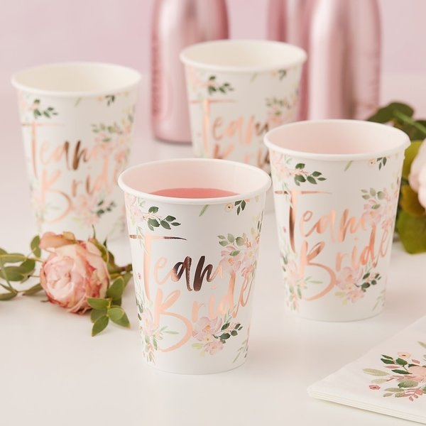 "Becher ""Team Bride"" floral"