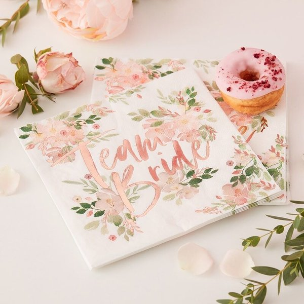 "Servietten ""Team Bride"" floral"